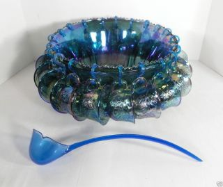 Iridescent Blue Indiana Carnival Glass Harvest Grape Punch Bowl Set w