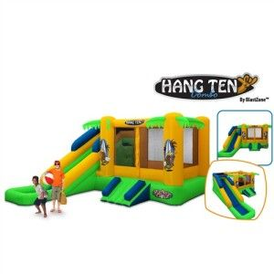 Hang Ten Inflatable Bounce House with Slide Surf Theme Gift for Kids