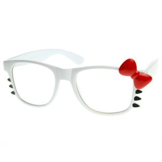 Retro Fashion Hello Kitty Clear Lens Glasses w Bow and Whiskers