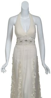Ivory Silk Chiffon Rhinestone Petal Bridal Eve Gown Dress 8 New