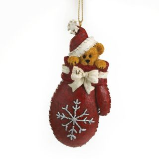 Boyds Bear Resin Flake Christmas Ornament Bear in Red Mitten New 2012