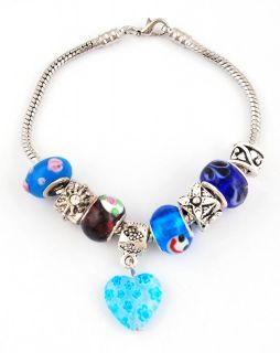 New Cham Bracelet with Charms Murano Glass Tibet Silver Spacer Beads