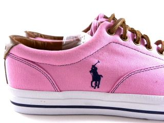 New Polo Ralph Lauren Vaughn Low Pink White Summer Fashion Sneakers
