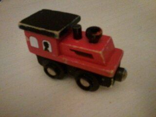 wooden wood train magnetic set toy engine Brio fire truck red train
