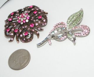 Lot of 2 Rhinestone Pins Brooches Pin Brooch Contemporary Modern Lot