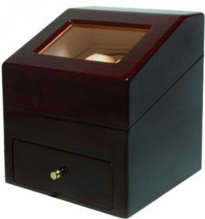 New Black Cherry Wood Finish Watch Winder Box AC DC Battery Operate 2