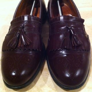 MENS ALLEN EDMONDS BRIDGETON BURGUNDY TASSEL KILTIE LOAFER DRESS SHOES