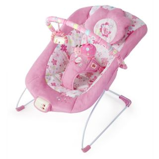 Bright Starts Pink Blossomy Blooms Flower Ladybug Musical Bouncer Seat