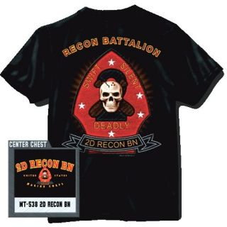 US Marine Corps T shirt 2nd Recon Battalion Second Reconnaissance BN