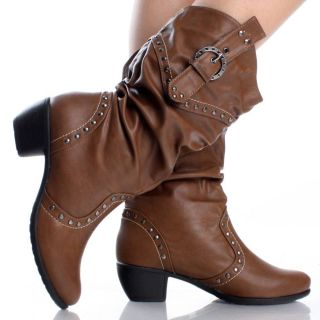 Brown Womens Cowboy Boots Western Cowgirl Roper Lady Faux Leather
