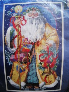 Needlepoint Picture Pillow Bucilla Kit FATHER CHRISTMAS NO CANVAS Wool