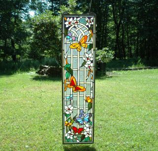 Style stained glass window panel flower & butterfly garden, 9 x 36