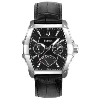 Bulova 96C114 Mens Marine Star Retrograde Black Leather Strap Black