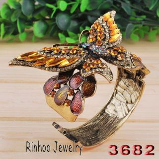 Brown Butterfly Cuff Bracelet Bangle Czech Rhinestone Crystal Antique