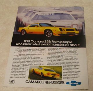 1979 CHEVY CHEVROLET CAMARO Z28 Z 28 AD ADVERTISEMENT VERY NICE