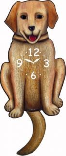 Yellow Lab Labrador Retriever Dog Hanging Wall Clock with Swinging