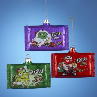 M M Candy Bag Glass Ornaments