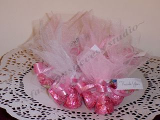 Sweet Pink Hersheys Kisses Caramel Chocolate Baby Girl Shower Party