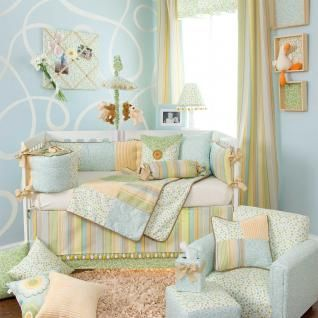Swirls Rainbow Nursery Neutral Baby Crib Bedding Set Boy Girl