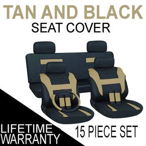 15pc Set Tan Black Auto Car Seat Covers Free Steering Wheel Belt Pads
