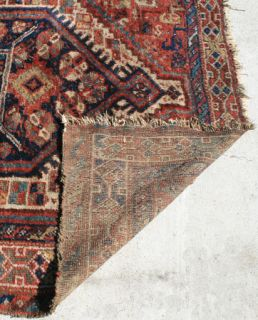 Antique Persian Old Oriental Carpet Jewel Like Color Handmade Wool
