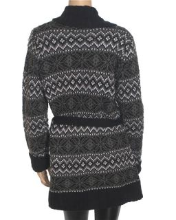Carolyn Taylor Belted Cardigan Womens Black Sweater Sz M