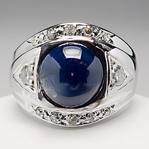 Mens 3.6 Carat Blue Sapphire & Diamond Ring Solid 14K White Gold