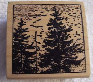 Magenta Unused Rubber Mounted Wood Stamp Trees Forest