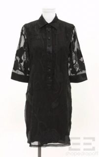 Catherine Malandrino Black Silk Chiffon Floral Embroidered Shirt Dress