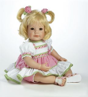 Charity Adora POLKA DOT ROSE Vinyl Baby Girl Doll Blonde / Brown Eyes