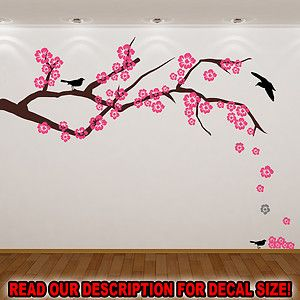 Cherry Blossom Tree Branch with Birds and Extra Flowers Wall Sticker