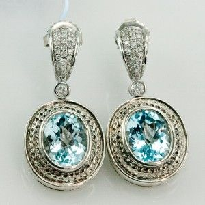 Charles Krypell 14k White Gold Silver Blue Topaz Diamonds Earrings