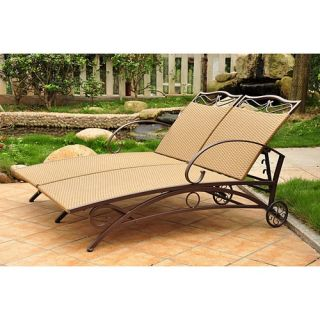 Outdoor Wicker Multi Position Double Chaise Lounge 4111 Dbl