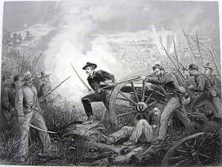 US Civil War Battle Chickamauga 1874 Engraving Print