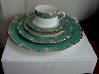 Kate Spade Corona Grove Aqua 5 PC Place Setting New