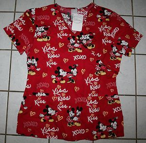 Disney Valentine Mickey Minnie Mouse Red Scrubs Var Sizes