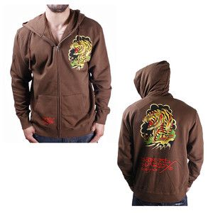 Ed Hardy Christian Audigier Mens Hoodie Sweatshirt Brown Tiger Size