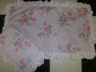 SIMPLY SHABBY CHIC MISTY ROSE PINK WHITE STANDARD SIZE 2 PILLOW SHAMS