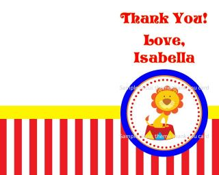 Carnival Circus Big Top Clown Theme Birthday Party Thank You Cards