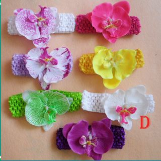 7pcs Fabric baby girl clips Orchid flowers for Hawaii Party & crochet