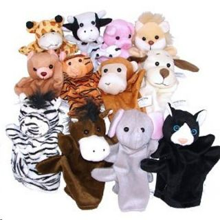 PK 12 Safari & Domestic ANIMAL HAND PUPPETS PLUSH VELOUR Lions