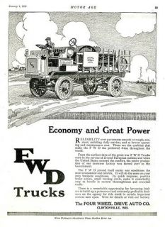 1919 FWD Four Wheel Drive Truck Ad Clintonville Wis