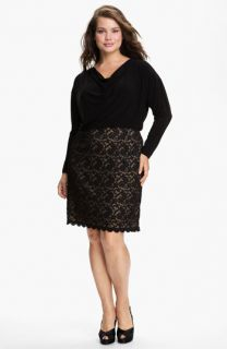 Adrianna Papell Lace Skirt Blouson Dress (Plus)