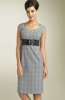 Adrianna Papell Plaid Cap Sleeve Dress