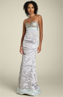 Nicole Miller Strapless Two Tone Silk Gown with Train