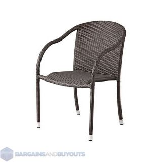 Set of Two Resin Outdoor Wicker Stackable Arm Chairs Espresso 413853