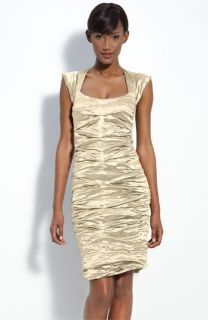 Nicole Miller Pintuck Metallic Sheath Dress