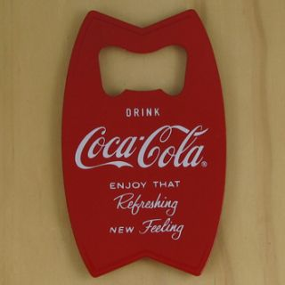 Drink Coca Cola red hand held bottle opener/fridge magnet. Solid metal