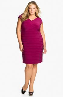 Adrianna Papell Basket Weave Shutter Pleat Sheath Dress (Plus)