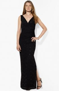 Lauren Ralph Lauren V Neck Sequin & Lace Gown
